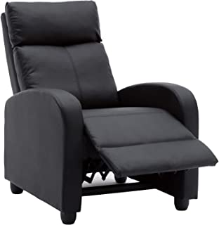 PU Leather Recliner Chair Lounge Chair for Living Room Modern Sofa and Home Theater Room Seating (Black)
