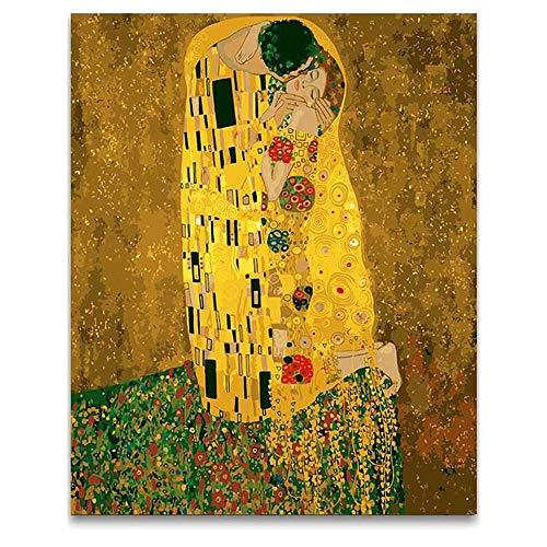 Pintar por Numeros - Gustav Klimt - Kit de pintura al óleo por números con pinceles y colores brillantes - Lienzo Pre-dibujado fácil de pintar para principiantes, niños y adultos