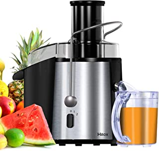 Hilax Juicer Machine 850W Power, 3 Inch Wide Mouth Juice Extractor, 2 Speed Centrifugal Juicer Easy to Clean, Stainless Steel Juicer for Fruits and Vegetable