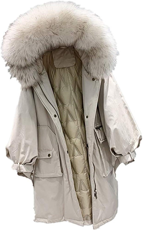 CG Women's Parker Wind Fox Fur Drawstring Duck Down Autumn and Winter Casual Down Jacket LS17