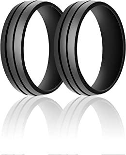 SANXIULY Mens Silicone Wedding Ring&Rubber Wedding Bands for Workout and Active..