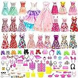 Festfun Lot 123 Articles = 13 Robes Chics + 2 Robes de Soirée + 108 Accessoires Aléatoires (Chaussures Colliers Couronne, etc.)