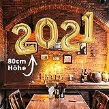 Silvester Deko 2021 XXL Party Set | über 100 Teile | XXL Zahlenluftballons 80cm Champagner & Cheers | Fotorequisiten Luftschlangen Konfetti - 6