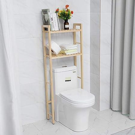 Zoternen - Estantería para cuarto de baño de madera, mueble de almacenamiento con 2 estantes, buen compañero para el baño