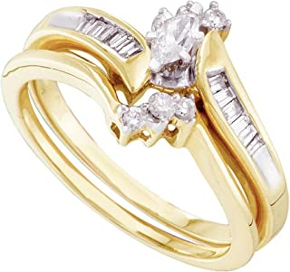 10K Yellow Two Tone Gold Marquise, Round & Baguette Diamond Bridal Engagement Ring & Matching Wedding Band Two Piece Set - Prong Set Solitaire Center Setting Shape with Channel Set Side Stones - Curved Notched Band (1/4 cttw.)