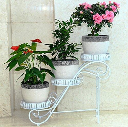 Art de fer Ensemble de plantes à fleurs Européen - Style intérieur et extérieur Ensemble de fleurs à trois étages Balcon Ensemble de pots à fleurs Multi-couleur en option ( Couleur : Blanc )