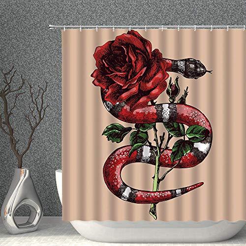 Tiere Duschvorhang Schlange & Rose Blume Sepia Berry Pine Decor Stoff Badvorhänge Wasserdichtes Polyester mit Haken