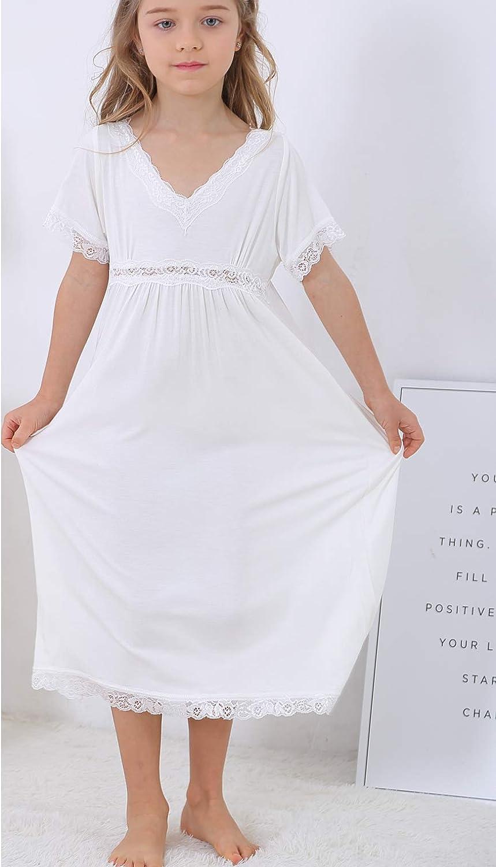 Girls Lace Princess Soft Cotton Nightgown Robe Dress 3-12 Years