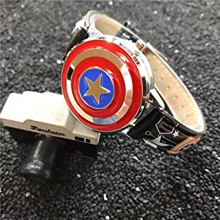 BCCDP Marvel Avengers Anime Cartoon Boy Niños Estudiante Capitán América Flip Reloj de Cuarzo Chicos Chicas Impermeabl Dep...
