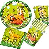 Mauder - Juego de platos, vasos y servilletas de papel para fiesta (36 piezas, confeti XXL, desechables), diseño de caballos y ponys