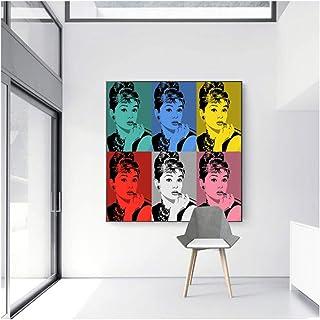 nr Cartel Moderno Andy Warhol Pintura al óleo Impresa en Lienzo Audrey Hepburn Sexy Fumar Mujeres Pared Cuadros para Vivir 60x60cm sin Marco