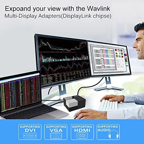 WAVLINK USB 3.0 Laptop Dockingstation für Notebooks mit Dual HD Video Monitor Display DVI,HDMI,VGA, Gigabit LAN Ethernet,Audio,4xUSB Ports,2 x Ladeanschluss für PC
