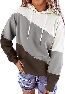 Diukia Women's Casual Long Sleeve Drawstring Hoodie Pullover Stripe Color Block Hooded Sweatshirt Tops for Junior Teens Gi...