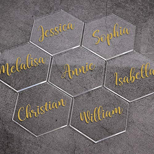 ATOMZING 50 PCS Clear Hexagon Acrylic Place Card Names for Wedding Party or Event Decor,Acrylic Place Card Sign Blanks ,Escort Cards for Table,Custom Name Settings Card Guest Names Cards
