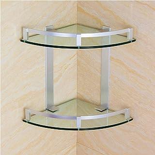 Bathroomshelf Glass Corner Shelf Wall Mounts 2 Tiers Bathroom Space Saving Shelves Rustproof HUIZWJ-0929 (Size : 250mm)