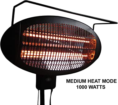 Hiland HIL-1500DI Electric Patio Heater, 1500 Watts w/Variable Heat Control, Tall, Black