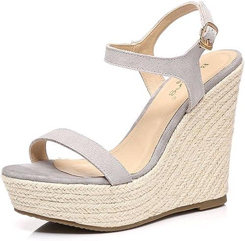 Sandales Amazing 12cm Chaussures d'été cale Chaussures Chaussures Chaussures Plate-Forme Imperméable à L'eau Ouverte Strass Chaussures (Couleur   gris, Taille   EU37 UK4.5-5 CN37) 211