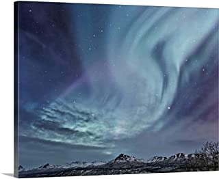 GREATBIGCANVAS Gallery-Wrapped Canvas Northern Lights (Aurora Borealis) Over The Talkeetna Mountains on a Clear Evening by Hal Gage 30