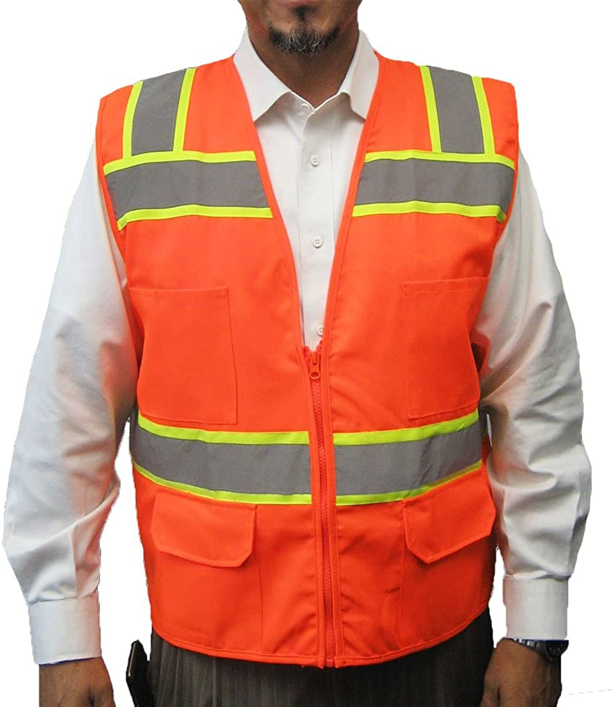 3C Products SV6000, ANSI/ISEA Class 2, Surveyor Safety Vest, Reflective w/Yellow Binding, Zipper, Pockets, Neon Orange
