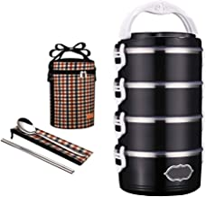 Four-Layer Bento Box, Carrying Stainless Steel Insulation Lunchbox with Spoon, Chopsticks and Insultated Bag, Durable Leak...