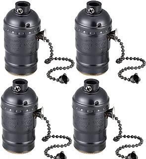 E26 vintage light socket,Standard Screw-in lamp socket holder for lamp bulbs-4 pack vintage black with pull chain