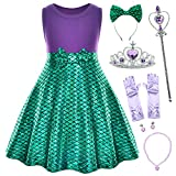 Princess Mermaid Green Dress Costumes for Little Girls with Headband,Crown,Mace,Gloves,Necklace,Earrings 5t 6t