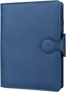 Grope Travel A5 Planner Inserts 6 Ring Binder Refillable Journals to Write in for Men Soft PU Leather Cover Business Loose Leaf Notebook with Card Slots, Pen Holder (Royal Blue)