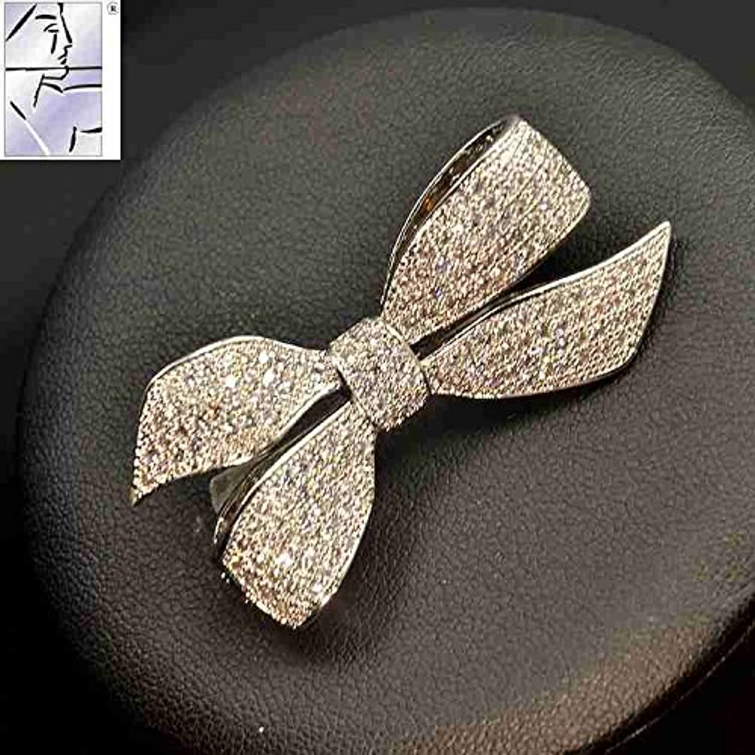 2018 Autumn and Winter Retro Micro Pave Zircon Bow Brooch pin Badge Women Girls fine Diamond Corsage Brooch pin Badge Suit Accessories