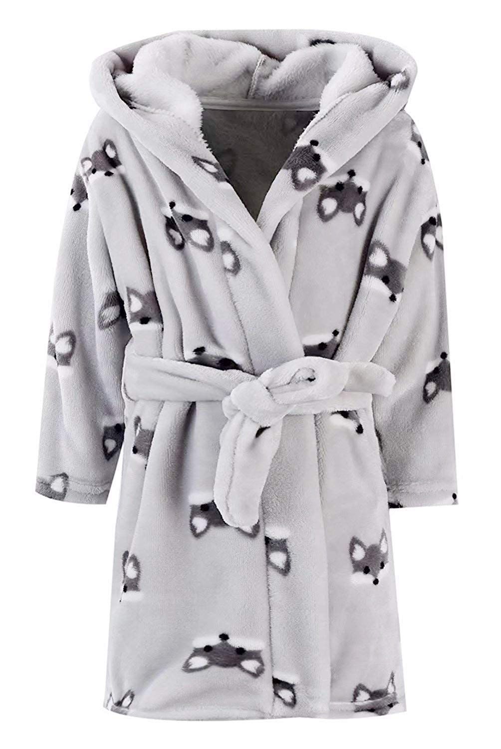 Image of Gray Fox Hooded Fleece Bathrobe for Boys and Toddlers - See More
