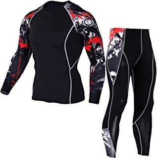 1Bests Men's Running Long Sleeve Compression Shirts and Pants Sets Gym Workout Quick Dry Tight Shirts Sportswear Suits
