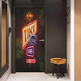 Soliciting Sticker for Door Tiki Bar Old Fashioned Neon Signs Illustration of Open Bar Palm Tree Branches Roadside Mural Wallpaper W23.6 x H78.7 Multicolor