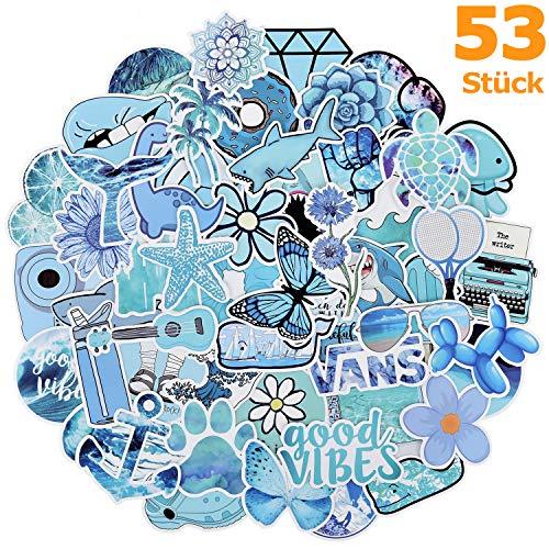 Willingood Aufkleber Mädchen 53pcs VSCO Tumblr Aesthetic Stickers Wasserdicht für Laptop Skateboard Auto Motorrad Fahrrad PS4 Koffer Snowboard iPhone, Blau