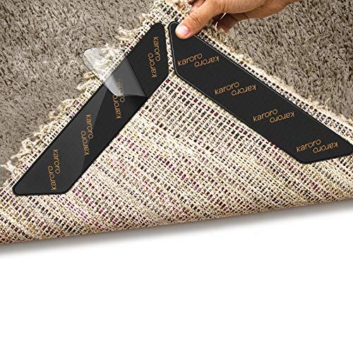Rug Gripper, 10pcs Anti Curling Rug Gripper for Wooden Floors, Large Size Carpet Sticker Anti Slip...