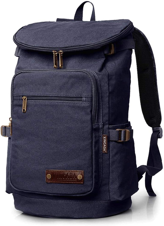 Large-Capacity Sports Travel Men's Bag Outdoor Shoulder Computer Bag Leisure Travel Bag Tide Male Backpack Canvas Bag blueee