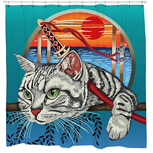 Sharp Shirter Cool Cat Shower Curtain Set Samurai Kitten Cool Japanese Bathroom Decor Setting Sun Waves Bright Blue Fabric 71x74 Hooks Included