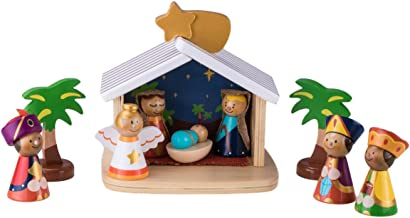 Clever Creations Children's 10 Piece Nativity Scene Manger, Jesus, Mary, Joseph, Angel, and Wise Men | Classic Christmas Decor | Stable Perfect for Shelves and Tables | 100% Wood | 7