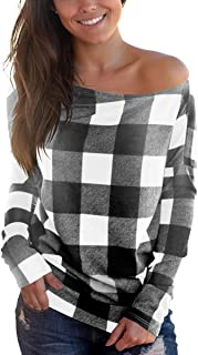 Cosonsen Women's Off Shoulder Top Long Sleeve Plaid Tee Shirt Blouse
