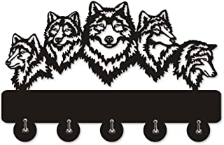 xushihanjjli Wall Clocks for Living Room Wildlife Wolf Decorative Hanger Wolf Family Clothes Hooks Coat Rack Keys Holder Organizer Hook Silent and Durable