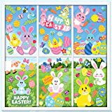 130 pc Easter Window Cling Stickers for Home Decoration,Bunny Easter Eggs Decals for Windows