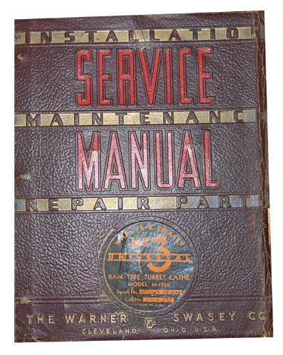 Warner & Swasey No. 3 Service Instructions & Parts