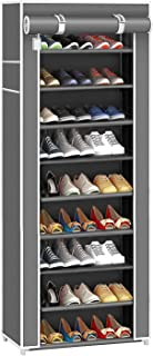 AYSIS 9 Tiers Multipurpose Portable Folding Shoes Rack/Shoes Shelf/Shoes Cabinet with Wardrobe Cover, Easy Installation St...