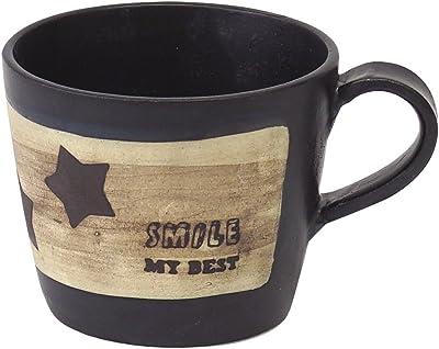 T-Family 伸光窯 マグカップ ウッドベース 星柄 黒マット L