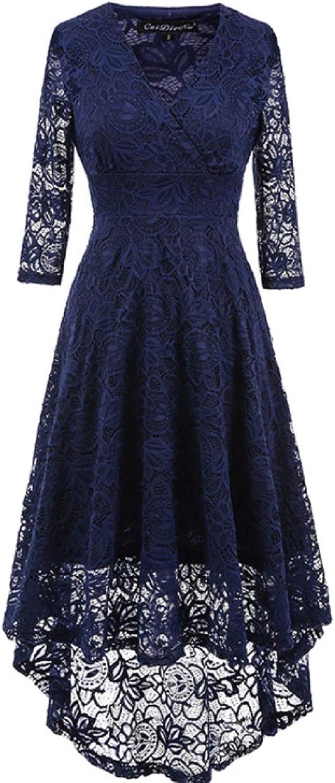 Lace VNeck Half Sleeve Evening Dress Bridesmaid Evening Dress