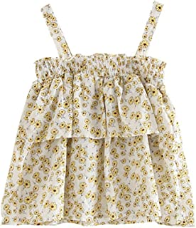 TOPBIGGER 2020 NEW Girls Princess Dress, Baby Girl Clothes Newborn Floral Ruffles Infant Outfit Sleeveless Princess Ruched Dress Toddlers Swing Dresses