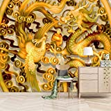Msrahves Fotomurales 3D Resumen oro animales dragones Pared Mural Foto Papel Pintado Pared Mural Vivero Sofá Tv Pared De Fondo Decoración de Pared decorativos hotel fondo de TV