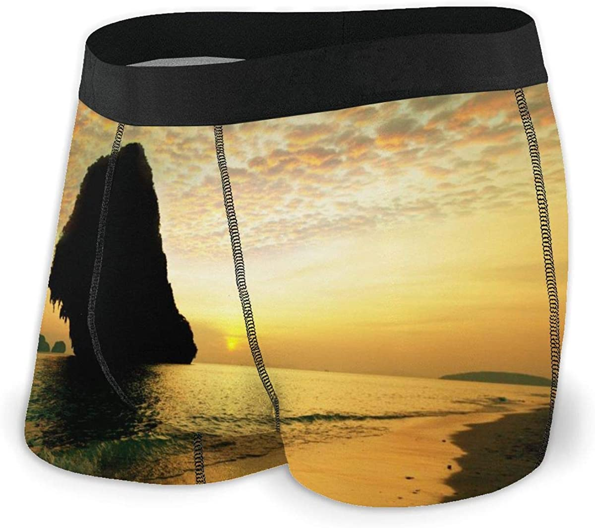 Randolph Wordsworth Mens Boxer Briefs Tropical Beach View Vector Breathable Underwear