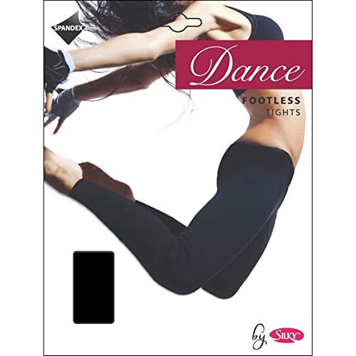 d2e567df4005c2 Silky FOOTLESS DANCE TIGHTS BLACK Adult Sizes 10% Spandex