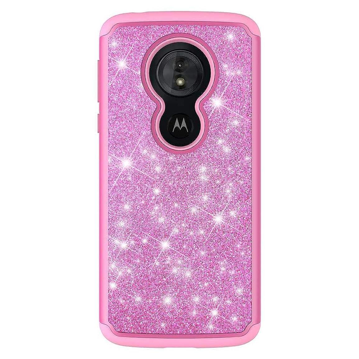 輝度がっかりするラフ睡眠Moto G6 Play ケース, CUNUS Moto G6 Play プレミアム シリコン ケース, おしゃれ かわいい 耐衝撃 PC 背中の キラキラ保護カバー, ピンク