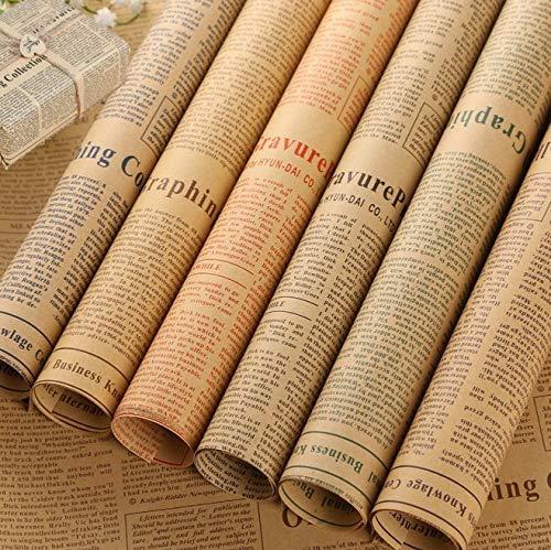 KAHEIGN 25 Fogli Carta Da Regalo Natalizia, 75 x 52 cm Kraft Riciclato Carta Da Regalo Fogli Di Carta Da Regalo Natalizi Giornale Vintage Per Confezioni Regalo Fai Da Te (5 Colori)