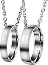 Personalized Master Custom Engraved Name His & Hers Real Love Matching Rings Set Stainless Steel Couples Pendant Necklaces Engagement Wedding Valentine's Day Anniversary Gift